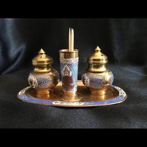 Vintage Brass Salt/Pepper Shaker Set Toothpick